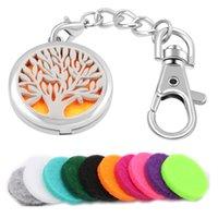 Désodorisant Portable Huile Essentielle Diffuseur porte-clés boîte de parfum aromathérapie Médaillon Set avec 5 couleurs feutre chaîne tampons