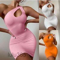 Women Casual Dresses 2021 summer new Designer Fashion women's sexy shoulder bag hip dress simple Solid color Slim sleeveless vest Short skirt lulu365
