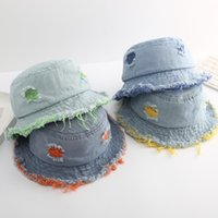 Free DHL Baby Kids Denim Hole Cap Sunhat Summer UV Protection Sunscreen Hat Foldable Bucket Fisherman Hats Sweet Lovely Toddler Girls Caps