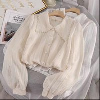 Autumn Fashion Long Sleeves Peter Women Blouses Pan Collar Tops Elegant Lace Office Ladies Hollow Out S97