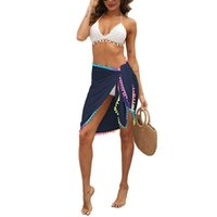 Women Beach Sarongs, Sexy Sheer Mesh Swimsuit Wrap Skirt Bikini Cover Up With Colorful Pompom Tassel Women's Swimwear