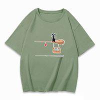 Летние женские футболки Высокое Качество Мода CAT без обслуживания Узор Печать печать круглые шеи с коротким рукавом повседневная свободная одежда