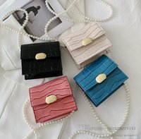 Luxury Girls crocodile grain handbags designer children crossbody bag kids pearls chain single shoulder bags women mini purse Q2698