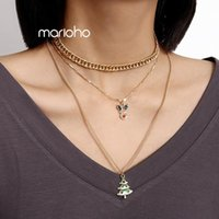 Pendant Necklaces Sweet Multilayer Gold Color Painting Elk Christmas Tree Shape Chokers Necklace Alloy Metal Geometric Jewelry