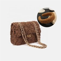 2021 Winter Accessories Purse and Headbands Crossbody Wool Hand Bags Women Plush Handbag Fur Headband Sets