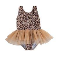 One-Pieces Fashion Toddler Girls Summer Leopard Print Swimsuit Swimming Bodysuits Tulle Dress Chidlren Swimwear Kids