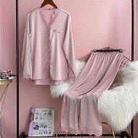 Lisacmvnel Spring Pijamas Femenino Hielo Seda manga larga traje de encaje sólido PAJAMAS 211007
