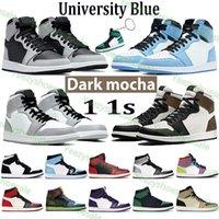 Ürdün 1 Basketbol Ayakkabı Üniversitesi Mavi Yüksek Karanlık Mocha Orta Işık Duman Gri Gümüş Toe Büküm Obsidiyen UNC Spor AJ 1 S Erkek Kadın Tasarımcı Sneaker