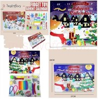 Fast delivery Christmas Fidget Toys Boxes Gifts 24pcs Set Advent Calender Blind Dimple Decompression Toy Push Bubbles Kids Xmas Gift MS22