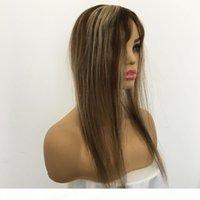 5x6IInch Donne Topper Topper Hair Hair Toupee per le donne Base di seta Vera lunghezza dei capelli umani 8-26 pollici Piano Color 4 27 Ciutore