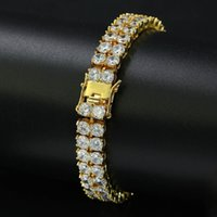 Hip Hop Bling Iced Out CZ Stone Tennis Chains Bracelets Women Men 2 Row 925silver Link Chain Charm Jewelry