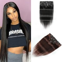 Remy Indian Straight Human Hair Clip In Extensions #1B #2 #4 8Pcs Set 120G 2-3 Sets Make Full Head