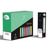 E-Taboo RGB 라이트 빛나는 일회용 담배 장치 키트 1000 퍼프 3.5ml 포드 600mAh 배터리 12 색