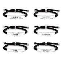Charm Bracelets Cross Border Titanium Steel Bracelet Star Of Life Logo Diabetic Warning Words Woven For Men And Women