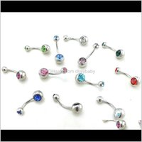 Bell Jewelry Drop Entrega 2021 Fashion Belly Botton Anillos 316L Acero inoxidable Doble Barbell Curvilíneo Curvilíneo Body Piercing PS0818 P7PCO