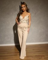 2021 Summer Jumpsuits Evening Dresses With Feather Spaghetti Straps Prom Dress Party Wear Custom Made Robe de mariée