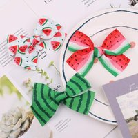 Hair Accessories 4.2Inches Summer Watermelon Printing Bows Clip For Kids Girls Ribbon Bowknot Baby Hairpins Barrettes