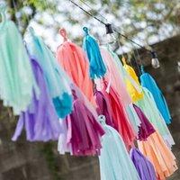 Papel metálico menta borla guirnalda franja decoración boda cumpleaños fiesta telón de fondo banner globos colas género revela regalos 5pcs / pack
