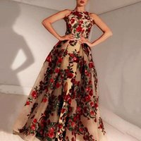 2021 Vintage Long Mermaid Prom Dresses Long Evening Dress High Neck with 3D Flowers Formal Party Evening Gowns Custom Made