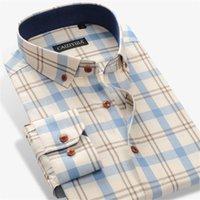 Homme's Robe T-shirts 100% coton à manches longues Contraste Chemise à carreaux à carreaux de poche de poche Moins de poche Casual Standard-Fit bouton Down gingham