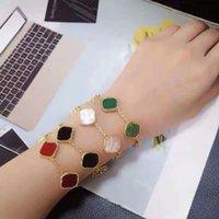 Bens de luxo 5 flores moda clássico quatro folhas trevo pulseira 18k cadeia de ouro shell braceletes charme marca pulseira mão jóias homens e mulheres