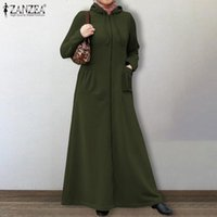 Elegante felpa Abito Abito da donna autunno pullover Zanzea casual musulmano maxi vestidos femminile con cerniera con cerniera con cappuccio di grandi dimensioni