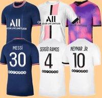 21 22 Messi Sergio Ramos Hakimi Thai Surger Jersey MBappe Verratti Marquinhos Kimpembe Di Maria Kean Football Jersey Soccer Tops Мужская рубашка и многие размеры S - 4 XL