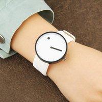 Relógios de pulso moda minimalista homens relógios casuais ponto e linha simples elegante quartzo unisex banda de couro