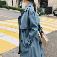 Windbreaker Female 2019 Spring Autumn New Korean Leisure Double-breasted Loose Lady Harbor Wind Long Trench Coat For Women Blue 07Fi#