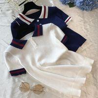 Women's Sweaters Feme Elegant Knit T Shirt Women Summer Vintage Preppy Style Short Sleeve Pullovers Knitted Designer Slim Clothes