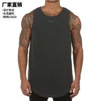 ASRV Yeni erkek yelek yıkama kullanılan katı renk kolsuz t-shirt erkek işlemeli spor alt gömlek