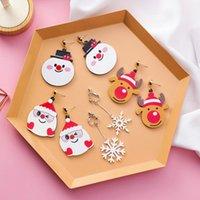 Sweet Years Gift Cute Cartoon Santa Claus Snowman Reindeer Snowflake Drop Earrings For Women Christmas Jewery Dangle & Chandelier