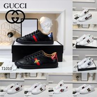 Gucci Luxurys Designers Sapatos para Homens Mulheres Ace Sneakers Bee Strawberry Tigre Moda Flats Sapato Casual Preto Branco Treinadores de Couro Branco Mocassins