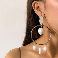 Hoop & Huggie 2021 Exaggerated Geometric Irregular Ball Tassel Big Acrylic Long Earrings For Women Fashion Jewelry Ear Accessories