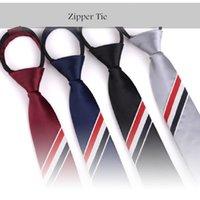 Cravate Zip pour hommes Crêche paresseuse 50cm longueur Trois couleurs à rayures à glissière à glissière cravate loisir