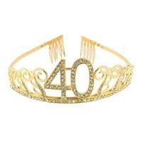 Gold Strass 40 Geburtstag Tiara Crown Stirnband Kuchen Topper Für Frauen Happy 40th Queen Party Dekorationen Favor Geschenke Geschenke Dekoration