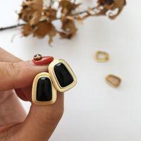 Stud Xiha Real 925 Brincos de Prata Esterlina para Mulheres Ágata Negra Geométrica Coreana Elegante Partido Casamento Moda Jóias