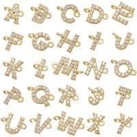 Charms 26 Pcs set Classic Mirco Pave CZ Custom A-Z Alphabet Letter Charm Gold Color Copper Name Pendant Original DIY Jewelry