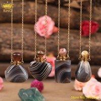 Naturel Botswana Agate Stones Coeur Parfum Bouteille Pendentif Collier Femmes Onyx Gemstones Diffuseur Flacons Colliers de chaîne en or