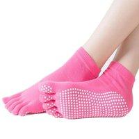 Meias de esportes Mulheres antiderrapantes com roxo, rosa, azul, preto par de meias (2 pcs) apertas ioga de pés Pilates