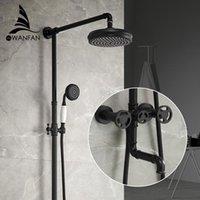 샤워 수도꼭지 매트 블랙 욕조 수도꼭지 라운드 튜브 단일 핸들 슬라이드 바 벽 물 믹서 탭 20F06R 욕실 세트