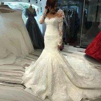 Gorgeous Mermaid Wedding Dresses Bridal Gown Lace Applique Sweep Train Custom Made 2022 Design Long Sleeves Scalloped Off the Shoulder Plus Size vestido de novia