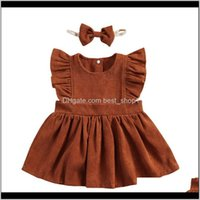Clothing Baby, & Maternity2021 Summer Baby Kids 2-Piece Outfit Sleeve Dress Headband Children Girls Corduroy Casual Dresses Drop Delivery 202