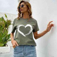 2021 women's basic top simple love printing round neck short sleeve cotton T-shirt