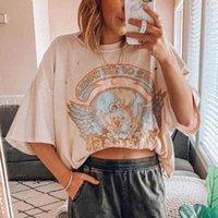 Moda Vintage Pullover suelto Camisetas Camisetas Patrón de ropa de poliéster Impreso Manga corta Top de verano