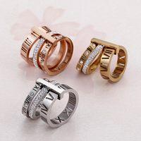 Yüzük paslanmaz çelik gül altın romen rakamları yüzük moda takı yüzük kadın düğün nişan takı dfgd