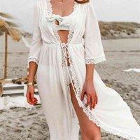 Talla grande Mujer Ropa de playa Blanca Túnica de algodón Sexy Frente abierto Tres cuartos de manga Vestido de playa Robe de Plage N839 210416