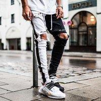 Asrv Autumn Mens Black White Patchwork Denim Trousers Foot Zipper Ripped Hip Hop Vintage Skinny Jeans Man Vaqueros Hombre