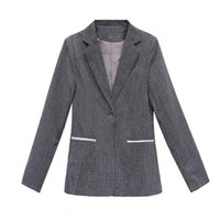 Women's Suits & Blazers Spring And Autumn Small Suit Jacket Women 2021 Short Top Slim Blue Blazer Solid