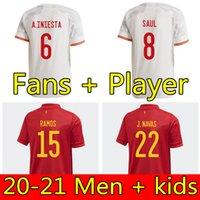 플레이어 팬 버전 스페인 2020 2021 축구 유니폼 Camiseta Paco Morata A.Iniesta Pique 20 21 유럽 컵 Alcacer Sergio Alba Hombre Nino